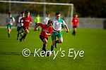 Tussle for possession between Park FC's Rian McEvoy and  and Josh Ryan of Castleisland in the Schoolboys soccer U14 Div 1 league