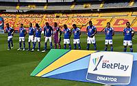 BOGOTA - COLOMBIA, 18-04-2021: Jugadores de Millonarios F. C. durante partido entre Millonarios F. C. y Deportivo Cali de la fecha 19 por la Liga BetPlay DIMAYOR I 2021 jugado en el estadio Nemesio Camacho El Campin de la ciudad de Bogota. / Players of Millonarios F. C. during a match between Millonarios F. C. and Deportivo Cali of the 19th date for the BetPlay DIMAYOR I 2021 League played at the Nemesio Camacho El Campin Stadium in Bogota city. / Photo: VizzorImage / Luis Ramirez / Staff.
