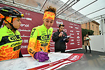 Ale-Cipollini team riders at sign on before the start of the Strade Bianche Women Elite NamedSport race running 136km from Siena to Siena, Italy. 3rd March 2018.<br /> Picture: LaPresse/Massimo Paolone | Cyclefile<br /> <br /> <br /> All photos usage must carry mandatory copyright credit (© Cyclefile | LaPresse/Massimo Paolone)