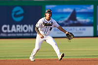Tulane Green Wave shortstop Collin Burns (2) during a game against the USF Bulls on May 27, 2021 at BayCare Ballpark in Clearwater, Florida.  (Mike Janes/Four Seam Images)
