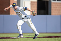 Michigan Wolverines third baseman Jack Van Remortel (51) warms up before the NCAA baseball game against the Rutgers Scarlet Knights on April 26, 2019 at Ray Fisher Stadium in Ann Arbor, Michigan. Michigan defeated Rutgers 8-3. (Andrew Woolley/Four Seam Images)