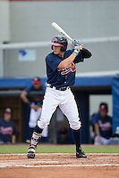 Ryan O'Malley (13) of the Danville Braves at bat against the Pulaski Yankees at American Legion Post 325 Field on July 31, 2016 in Danville, Virginia.  The Yankees defeated the Braves 8-3.  (Brian Westerholt/Four Seam Images)