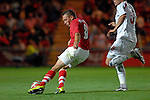 Wales Captain Craig Bellamy fires his goal home during the International Friendly between Wales and Luxembourg at Parc y Scarlets in LLanelli..
