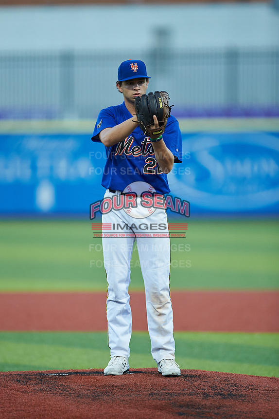 Chase Loggins (22) of Bishop England High School (SC) playing for the New York Mets scout team during game three of the South Atlantic Border Battle at Truist Point on September 26, 2020 in High Pont, NC. (Brian Westerholt/Four Seam Images)