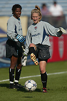 Goalkeepers Briana Scurry and Siri Mullinex warm up prior to the USWNT game against Russia on  September 29, at Mitchel Athletic Complex, Uniondale, NY.