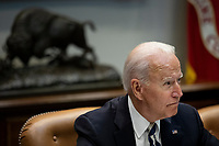 United States President Joe Biden speaks during a meeting with a group of bipartisan governors and mayors in the Roosevelt Room of the White House in Washington, D.C., U.S., on Wednesday, July 14, 2021. Biden made his case for his sweeping social and infrastructure agenda to Senate Democrats today, a day after key members of their caucus reached agreement on a crucial step forward for the plan.<br /> CAP/MPI/RS<br /> ©RS/MPI/Capital Pictures<br /> CAP/MPI/RS<br /> ©RS/MPI/Capital Pictures