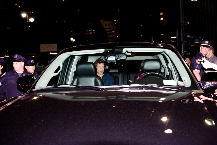 Jon Bon Jovi leaves Madison Square Garden after the last night of the Lost Highway Tour.