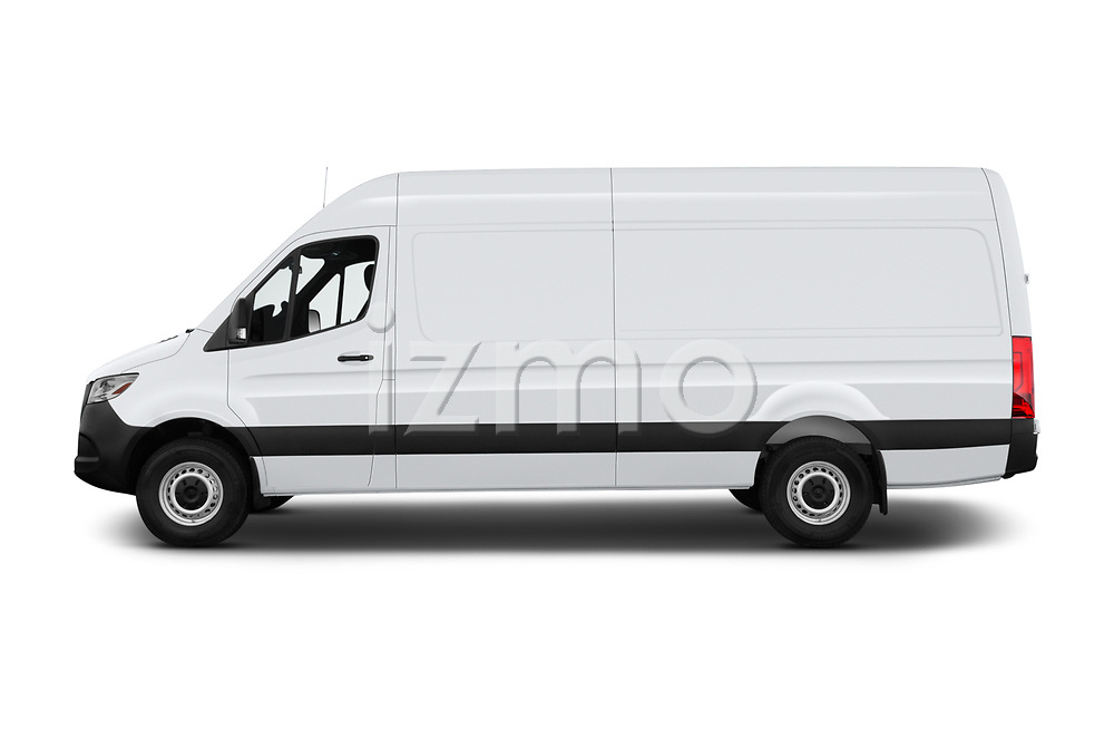 Car driver side profile view of a 2019 Mercedes Benz Sprinter-Cargo-Van Base 4 Door Cargo Van