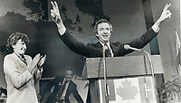 1979 FILE PHOTO - ARCHIVES -<br /> <br /> Triumphant Joe Clark displays a wide grin and a double victory sign as his wife, Maureen, applauds<br /> <br /> Bezant, Graham<br /> Picture, 1979<br /> <br /> 1979,<br /> <br /> PHOTO : Graham Bezant - Toronto Star Archives - AQP