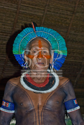 Pará State, Brazil. Aldeia Moikarako. Cacique Moté Kayapo.