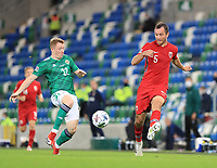 7th September 2020; Windsor Park, Belfast, County Antrim, Northern Ireland; EUFA Nations League, Group B, Northern Ireland versus Norway; Even Hovland of Norway and Northern Ireland's Shayne Lavery compete for the ball