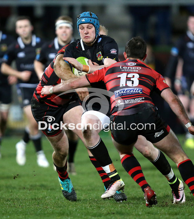 Friday 8th February 2019 | First Trust Ulster Senior Cup Final<br /> <br /> Matthew Norris is tackled by Neil Faloon and Christopher Colvin during the First Trust Ulster Senior Cup Final between Armagh and Ballymena at Kingspan Stadium, Ravenhill Park, Belfast, Northern Ireland. Photo by John Dickson / DICKSONDIGITAL