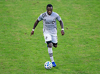 WASHINGTON, DC - NOVEMBER 8: Zachary Brault-Guillard #15 of the Montreal Impact dribbles during a game between Montreal Impact and D.C. United at Audi Field on November 8, 2020 in Washington, DC.