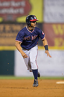 Ray-Patrick Didder (11) of the Rome Braves takes off for third base during the game against the Hickory Crawdads at L.P. Frans Stadium on May 12, 2016 in Hickory, North Carolina.  The Braves defeated the Crawdads 3-0.  (Brian Westerholt/Four Seam Images)