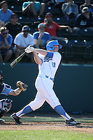 Kort Peterson (18) of the UCLA Bruins bats against the North Carolina Tar Heels at Jackie Robinson Stadium on February 20, 2016 in Los Angeles, California. UCLA defeated North Carolina, 6-5. (Larry Goren/Four Seam Images)