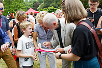 Pictured: Labour leader Jeremy Corbyn speaks to a young supporter. Sunday 01 July 2018<br /> Re: Labour Party leader Jeremy Corbyn at the celebration for the 70 years since the National Health Service (NHS) was founded by Aneurin Bevan, Bedwellty Park, Tredegar, Wales, UK.