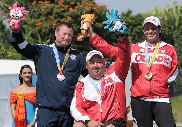 Robert Hudson and Kevin Evans, Guadalajara 2011 - Para Archery // Partir à l'arc.<br /> Robert Hudson (silver) Kevin Evans (Gold) after after receiving their Medal from the Men's Individual Compound // Robert Hudson (argent) Kevin Evans (or) après avoir reçu leur médaille du composé individuel masculin. 11/17/2011.