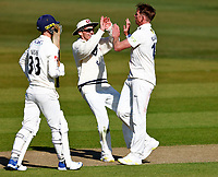 Fred Klaassen (R) of Kent is congratulated by Matt Milnes after taking the wicket of Dane Vilas (L) during Kent CCC vs Lancashire CCC, LV Insurance County Championship Group 3 Cricket at The Spitfire Ground on 22nd April 2021