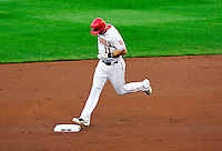8 June 2010: Washington Nationals' third baseman Ryan Zimmerman rounds the bases after hitting a solo home run to open the scoring against the Pittsburgh Pirates at Nationals Park in Washington, DC. The Nationals defeated the Pirates 5-2 in the series opener where pitching sensation Stephen Strasburg made his Major League debut, striking out 14 batters and notching his first win in the majors. Mandatory Credit: Ed Wolfstein Photo
