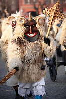 Buso on the Sunday procession of the Busojaras Spring  festival 2010 Mohacs Hungary - Stock photos