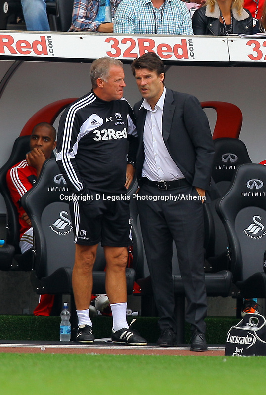Saturday, 01 September 2012<br /> Pictured: Alan Curtis and Michael Laudrup<br /> Re: Barclays Premier League, Swansea City FC v Sunderland at the Liberty Stadium, south Wales.