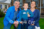 Noah Kirby on his first day in Junior Infants at Scoil Eoin Balloonagh on Wednesday with his parents Fergal and Jennifer Kirby.