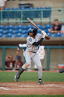 Hudson Valley Renegades Greg Jones (2) at bat during a NY-Penn League game against the Mahoning Valley Scrappers on July 15, 2019 at Eastwood Field in Niles, Ohio.  Mahoning Valley defeated Hudson Valley 6-5.  (Mike Janes/Four Seam Images)