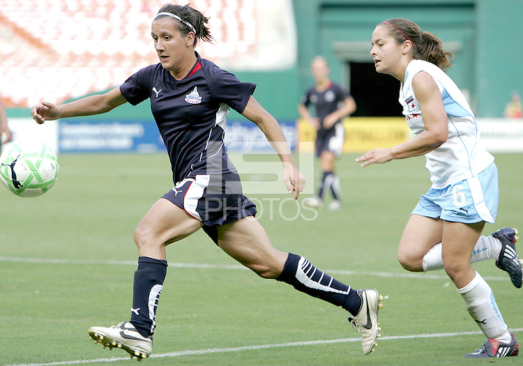Lisa De Vanna #17 of Washington Freedom picks up a pass in front of Brittany Klein #6 of the Chicago Red Stars during a WPS match at RFK stadium on June 13 2009 in Washington D.C. The game ended in a 0-0 tie