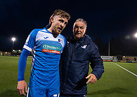 Barrow interim manager Rob Kelly with players at full time during the Sky Bet League 2 match between Forest Green Rovers and Barrow at The New Lawn, Nailsworth on Tuesday 27th April 2021. (Credit: Prime Media Images I MI News)