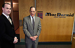 WATERBURY, CT - 27 April 2004 - 042704TH05 -  Daniel H. Leever, chairman and CEO of MacDermid Inc., right, and Stephen Largan, president, left, pose in The Harold Leever Building at MacDermid headquarters on Freight Street in Waterbury before the annual shareholders' meeting Tuesday. TODD HOUGAS PHOTO