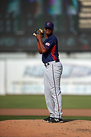 Lancaster JetHawks relief pitcher Salvador Justo (35) prepares to deliver a pitch during a California League game against the Inland Empire 66ers at San Manuel Stadium on May 20, 2018 in San Bernardino, California. Inland Empire defeated Lancaster 12-2. (Zachary Lucy/Four Seam Images)