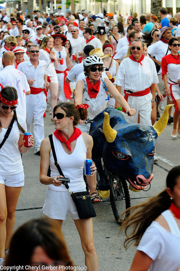 """Sixth annual San Fermin in Nueva Orleans (SFNO) festival of """"The Running of the Bulls"""" featuring roller derby girls from across the country."""