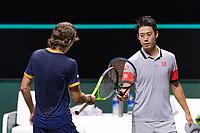 Rotterdam, The Netherlands, 3 march  2021, ABNAMRO World Tennis Tournament, Ahoy, First round singles: Kei Nishikori (JPN) Alex De Minaur (AUS) handshake.<br /> Photo: www.tennisimages.com/henkkoster