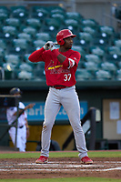 Palm Beach Cardinals Jordan Walker (37) bats during a game against the Jupiter Hammerheads on May 11, 2021 at Roger Dean Chevrolet Stadium in Jupiter, Florida.  (Mike Janes/Four Seam Images)