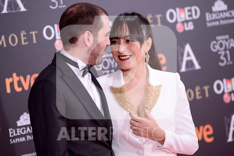 Candela Peña attends to the Red Carpet of the Goya Awards 2017 at Madrid Marriott Auditorium Hotel in Madrid, Spain. February 04, 2017. (ALTERPHOTOS/BorjaB.Hojas)