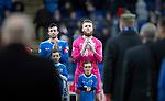 St Johnstone v Hamilton Accies…10.11.18…   McDiarmid Park    SPFL<br />Joe Shaughnessy and Zander Clark applaud the veterans onto the pitch as a mark of respect for Remembrance Day<br />Picture by Graeme Hart. <br />Copyright Perthshire Picture Agency<br />Tel: 01738 623350  Mobile: 07990 594431