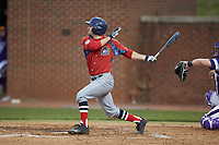 Justin Etts (12) of the NJIT Highlanders follows through on his swing against the High Point Panthers at Williard Stadium on February 18, 2017 in High Point, North Carolina. The Highlanders defeated the Panthers 4-2 in game two of a double-header. (Brian Westerholt/Four Seam Images)