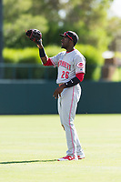 Scottsdale Scorpions left fielder Taylor Trammell (26), of the Cincinnati Reds organization, during an Arizona Fall League game against the Glendale Desert Dogs at Camelback Ranch on October 16, 2018 in Glendale, Arizona. Scottsdale defeated Glendale 6-1. (Zachary Lucy/Four Seam Images)