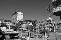 Montreal (Qc) CANADA - 2011 File -Sainte-Catherine and Saint-laurent street area  construction.<br /> NOTE : BW version of a color image (color also available)