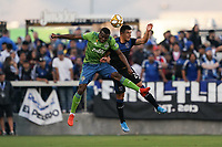 SAN JOSE, CA - SEPTEMBER 29: Nouhou #5 of the Seattle Sounders FC goes up for a header with Nick Lima #24 of the San Jose Earthquakes during a Major League Soccer (MLS) match between the San Jose Earthquakes and the Seattle Sounders on September 29, 2019 at Avaya Stadium in San Jose, California.