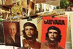 Eva Peron and Che Guevara posters flea market stall Buenos Aires Argentina South America. Plaza Dorrego, San Telmo district 2000s 2002