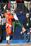 North Dakota State Bison defensive end Mike Hardie (91) and Sam Houston State Bearkats running back Ryan Wilson (4) in action during the FCS Championship game between the North Dakota State Bison and the Sam Houston State Bearkats at the FC Dallas Stadium in Frisco, Texas. North Dakota defeats Sam Houston 39 to 13..