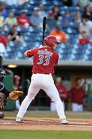 Clearwater Threshers outfielder Aaron Brown (33) at bat during a game against the Tampa Yankees on April 21, 2015 at Bright House Field in Clearwater, Florida.  Clearwater defeated Tampa 3-0.  (Mike Janes/Four Seam Images)
