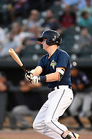 First baseman Dan Rizzie (5) of the Columbia Fireflies bats in a game against the Charleston RiverDogs on Monday, August 7, 2017, at Spirit Communications Park in Columbia, South Carolina. Columbia won, 6-4. (Tom Priddy/Four Seam Images)