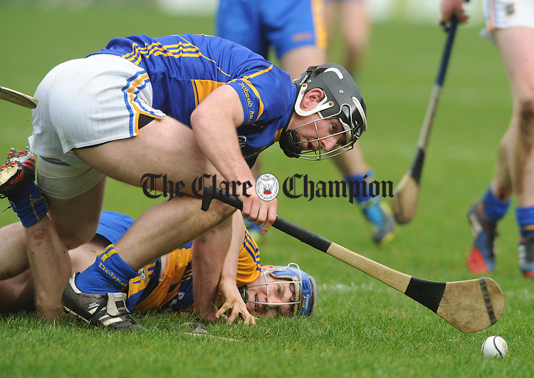 Podge Collins of Clare in action against XXX of Tipperary during their National League game at Thurles. Photograph by John Kelly.