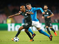 Football Soccer: UEFA Champions League Napoli vs Mabchester City San Paolo stadium Naples, Italy, November 1, 2017. <br /> Manchester City's Fabian Delph (l) in action with José Callejon (r) during the Uefa Champions League football soccer match between Napoli and Manchester City at San Paolo stadium, November 1, 2017.<br /> UPDATE IMAGES PRESS/Isabella Bonotto