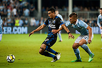 Kansas City, KS - Wednesday August 9, 2017: Darwin Ceren, Diego Rubio during a Lamar Hunt U.S. Open Cup Semifinal match between Sporting Kansas City and the San Jose Earthquakes at Children's Mercy Park.