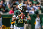 Baylor Bears quarterback Jalan McClendon (19) in action during the game between the OSU Cowboys and the Baylor Bears at the McLane Stadium in Waco, Texas.