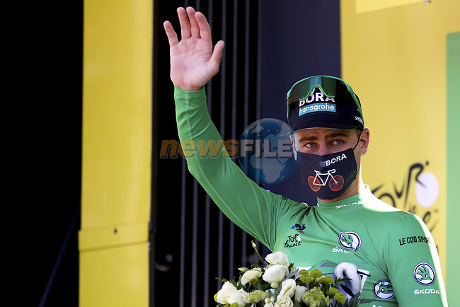 Peter Sagan (SVK) Bora-Hansgrohe retains the Green Jersey at the end of Stage 3 of Tour de France 2020, running 198km from Nice to Sisteron, France. 31st August 2020.<br /> Picture: POOL/BettiniPhoto   Cyclefile<br /> All photos usage must carry mandatory copyright credit (© Cyclefile   POOL/BettiniPhoto)