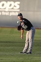 John Schuknecht (48) of the Cal Poly Mustangs in the field during a game against the Cal State Fullerton Titans at Goodwin Field on April 2, 2015 in Fullerton, California. Cal Poly defeated Cal State Fullerton, 5-0. (Larry Goren/Four Seam Images)